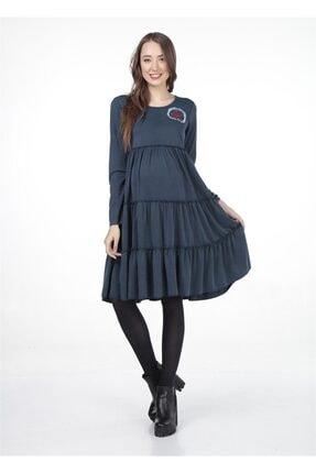 BUSA Kadın  Mavi  Hamile Günlük Fırfır Etekli Elbise