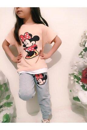 MINNIE Kız Çocuk Pembe Minnie Mouse Alt Eşofman Iki Ip Üst Süprem Penye Ikili Takım