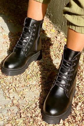 İnan Ayakkabı Siyah Cilt Kadın Bot KY3040