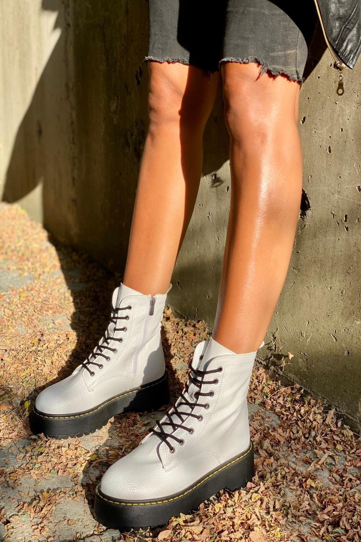 İnan Ayakkabı Floter Beyaz Cilt Kadın Bot KY92500 2