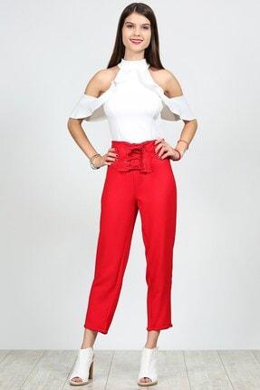 Womenice Kadın Kırmızı Kuş Gözü Detaylı Pantolon