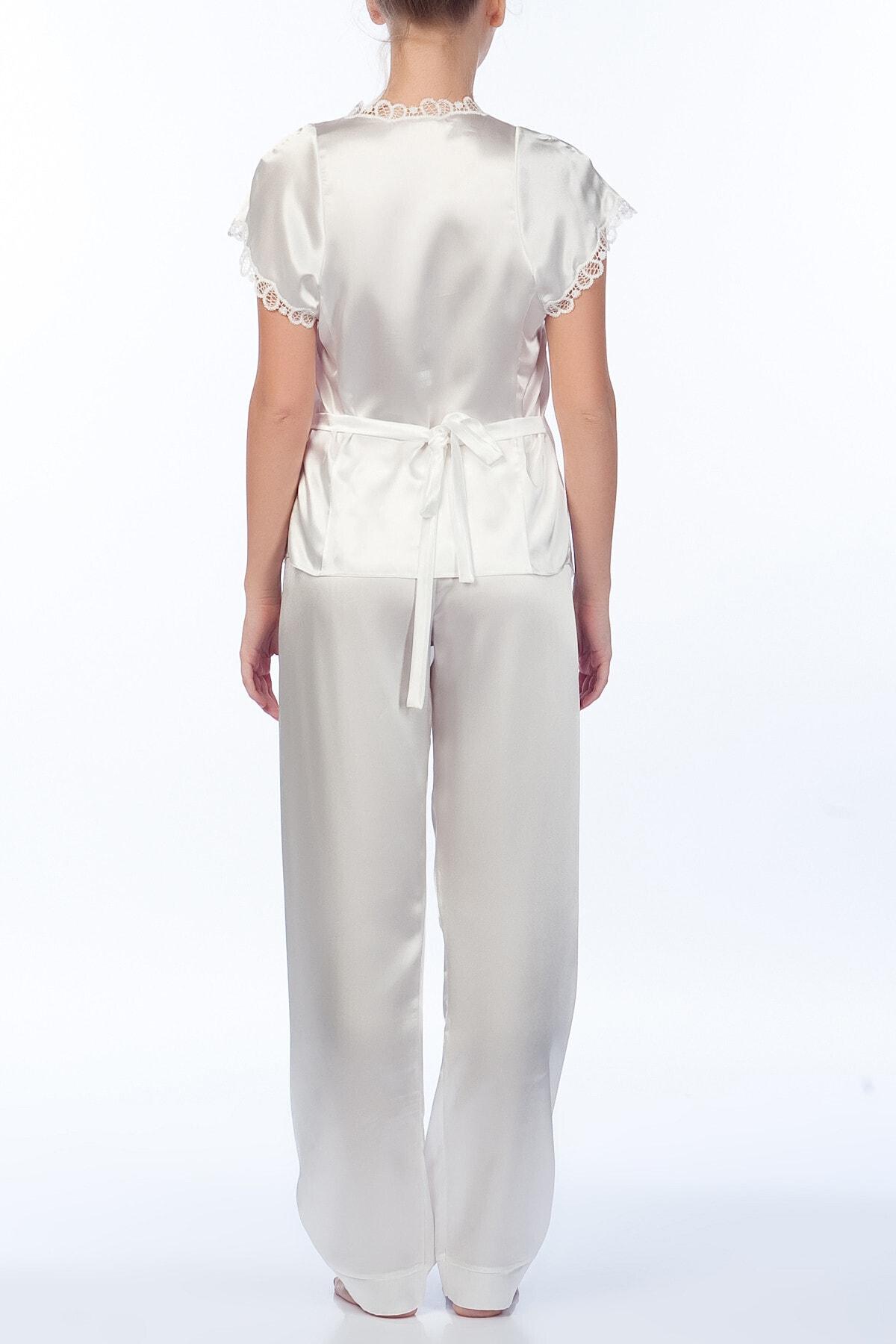 Karmen Kadın Ekru Pijama Takımı 3'lü 2