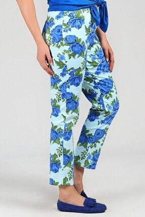 Womenice Kadın Mint Büyük Beden  Beli Lastikli Cepsiz Çiçekli Pantolon