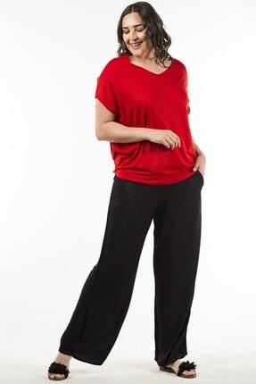 Womenice Kadın Siyah Düz Beli Lastikli Pantolon