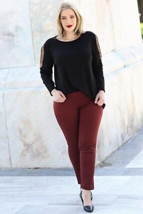 Womenice Kadın Bordo Büyük Beden Beli Lastikli Fermuarlı Pantolon