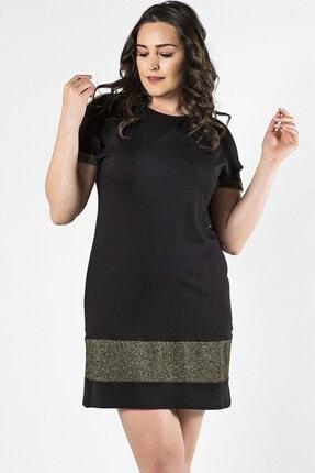 Womenice Kadın Siyah Büyük Beden Eteği Kol Ucu Altın Simli Elbise