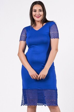 Womenice Kadın Mavi Büyük Beden Omuzu File Kemerli Elbise