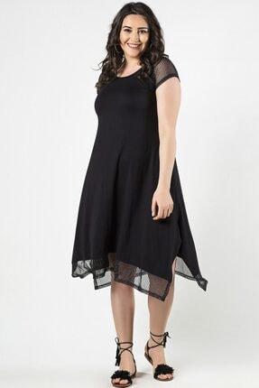 Womenice Kadın Siyah Büyük Beden Eteği Kolu Tüllü Elbise