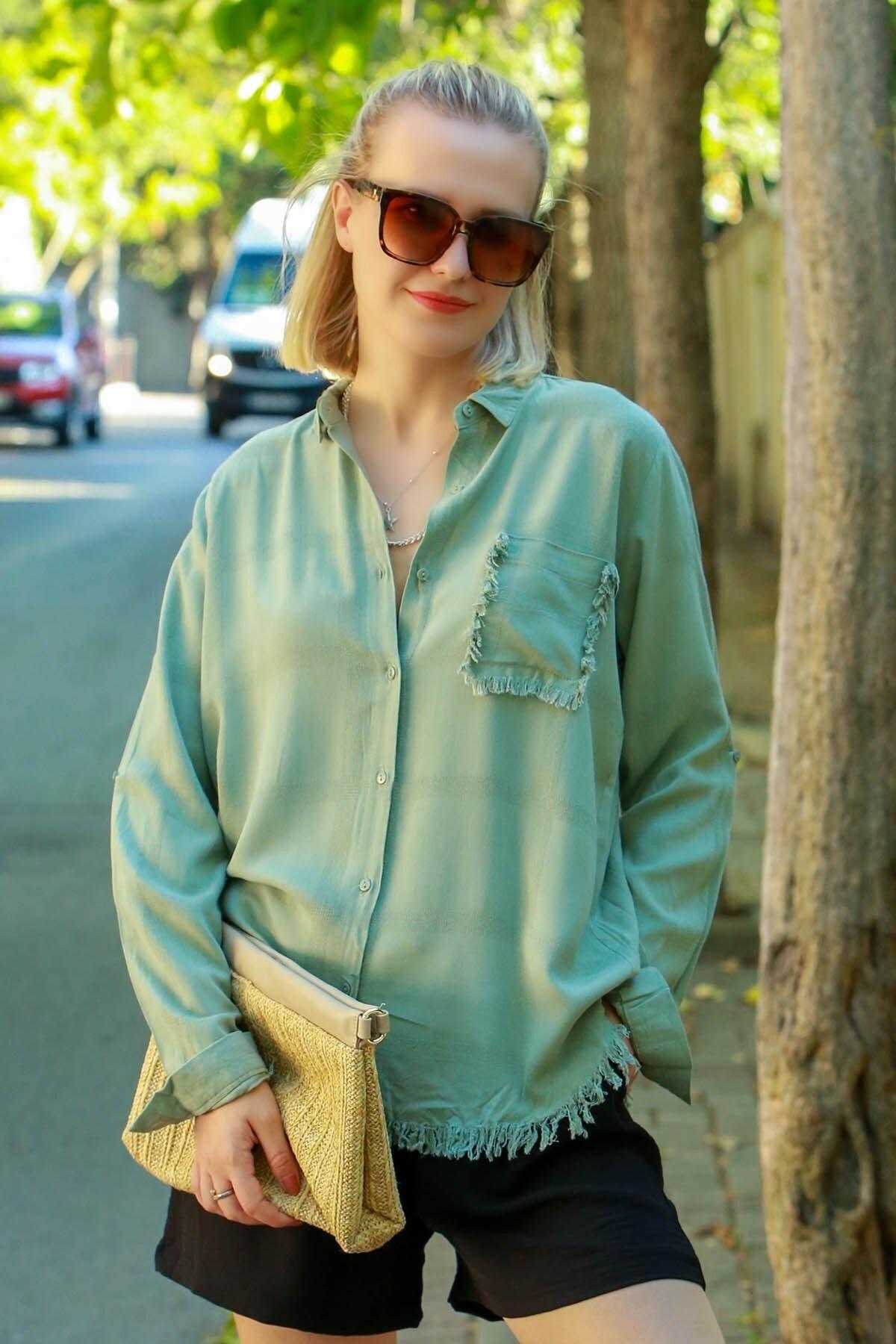 Madmext Kadın Yeşil Püsküllü Gömlek Mg617-3 1