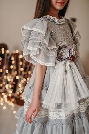 MIALORA EXCLUSIVE Kız Çocuk Gri, Payet Ve Dantel İşlemeli, Taçlı, Uzun, Vintage Kostüm Elbise