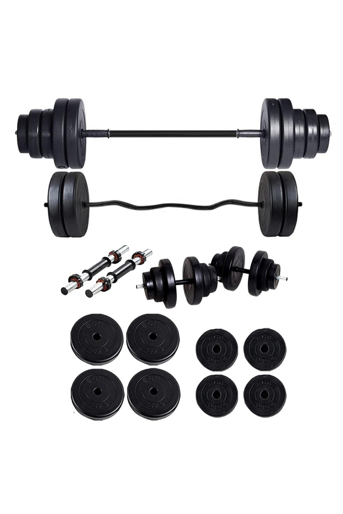 ECG spor 38 Kg Z BAR Halter Seti ve Dambıl Seti Ağırlık Fitness Seti 1
