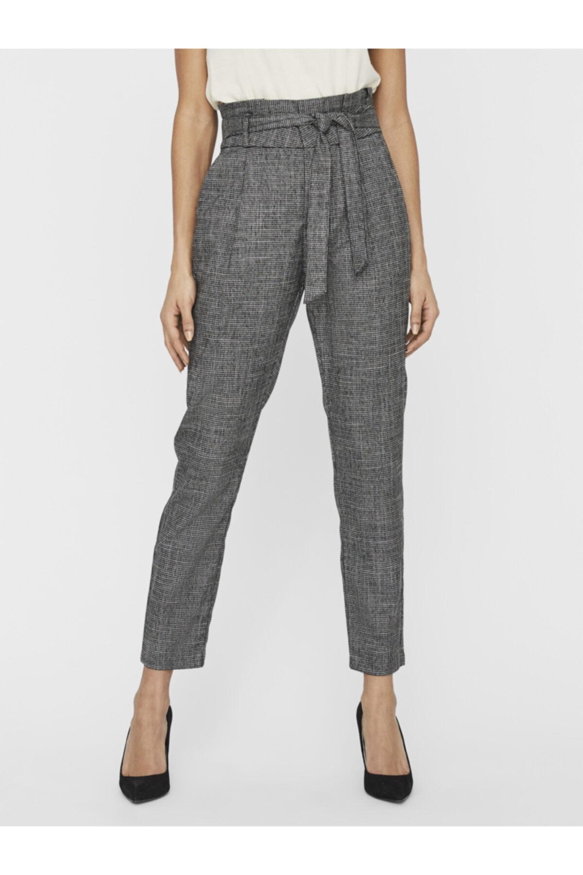 Vero Moda Kadın Siyah Paperbag Yüksek Bel Pantolon 10233811 VMEVA 2