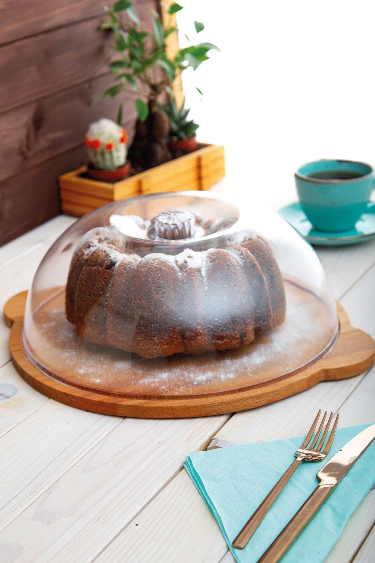 JOY KİTCHEN Ahşap Kek Servisi Kulplu - Akrilik Kapaklı 1