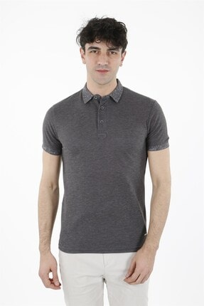 Jakamen Antrasıt Slim Fit T-shirt Polo Yaka