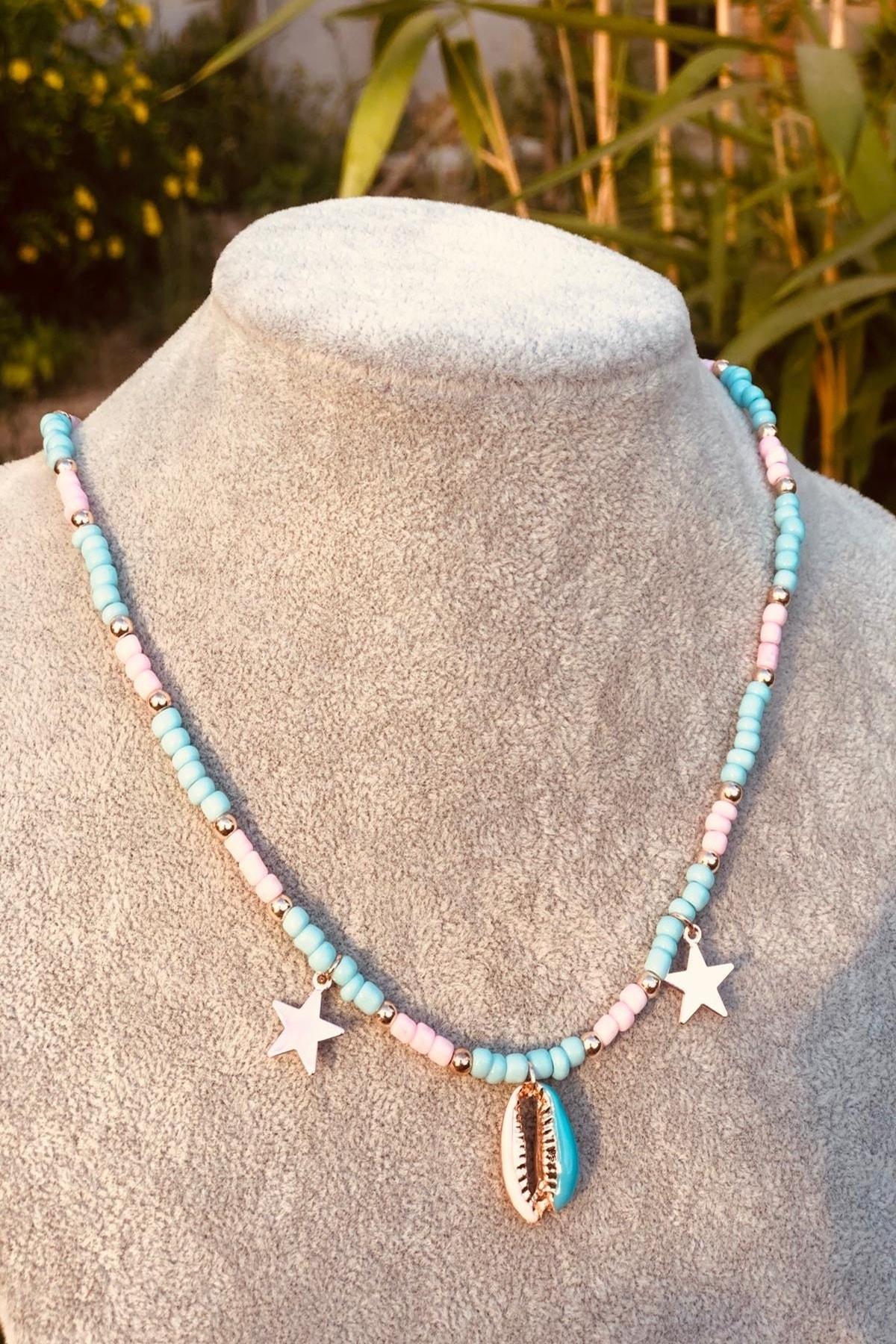 İsabella Accessories Kadın Boncuk Kolye Pembe Mavi 90'lar Bayan Kolyesi Deniz Kabuğu 2