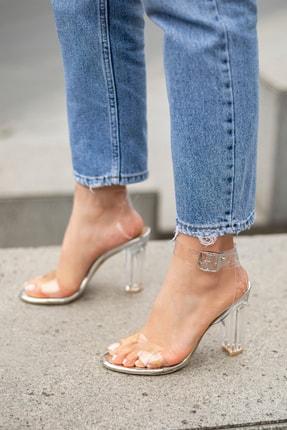 MYPOPPİSHOES Kadın Gümüş Victoria Şeffaf Topuklu Ayakkabı