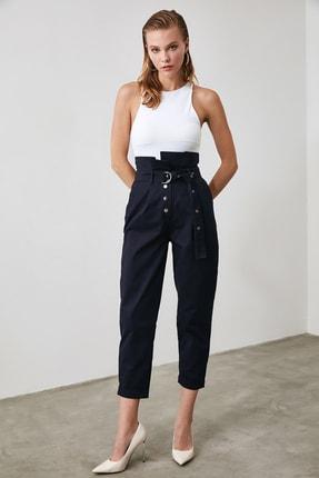 TRENDYOLMİLLA Lacivert Süper Yüksek Bel Kemerli Havuç Pantolon TWOAW21PL0118