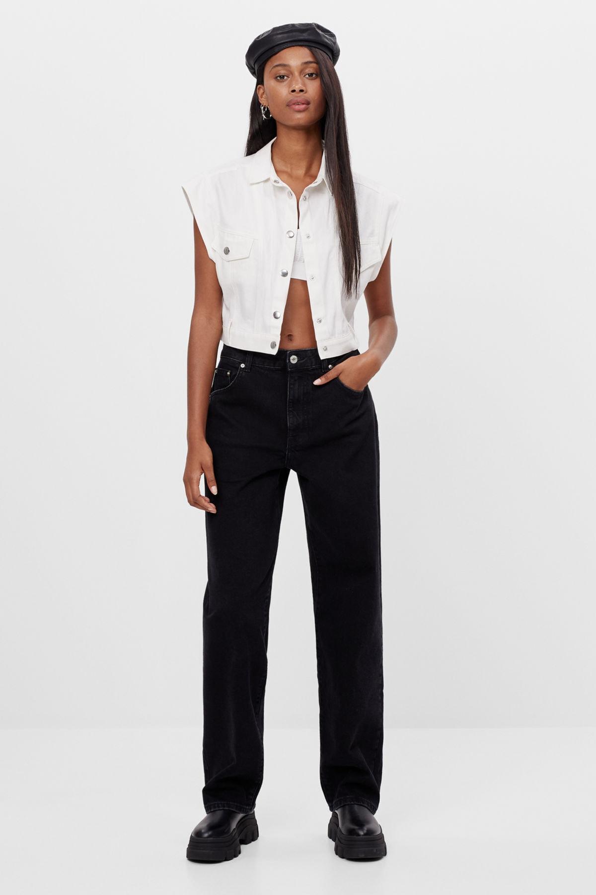 Bershka Kadın Siyah Baggy Jeans 1