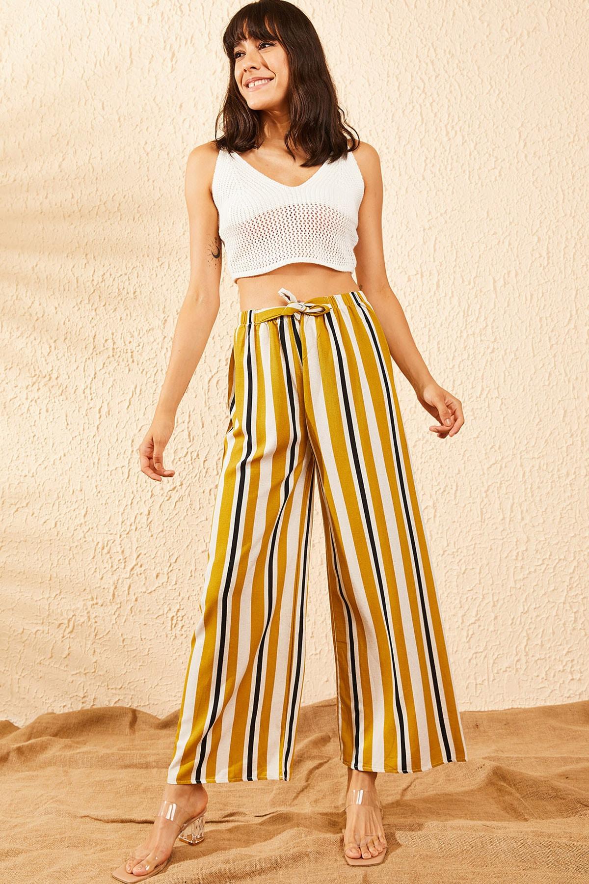 Bianco Lucci Kadın Sarı Beli Lastikli Şeritli Bol Paça Pantolon 10101001 1
