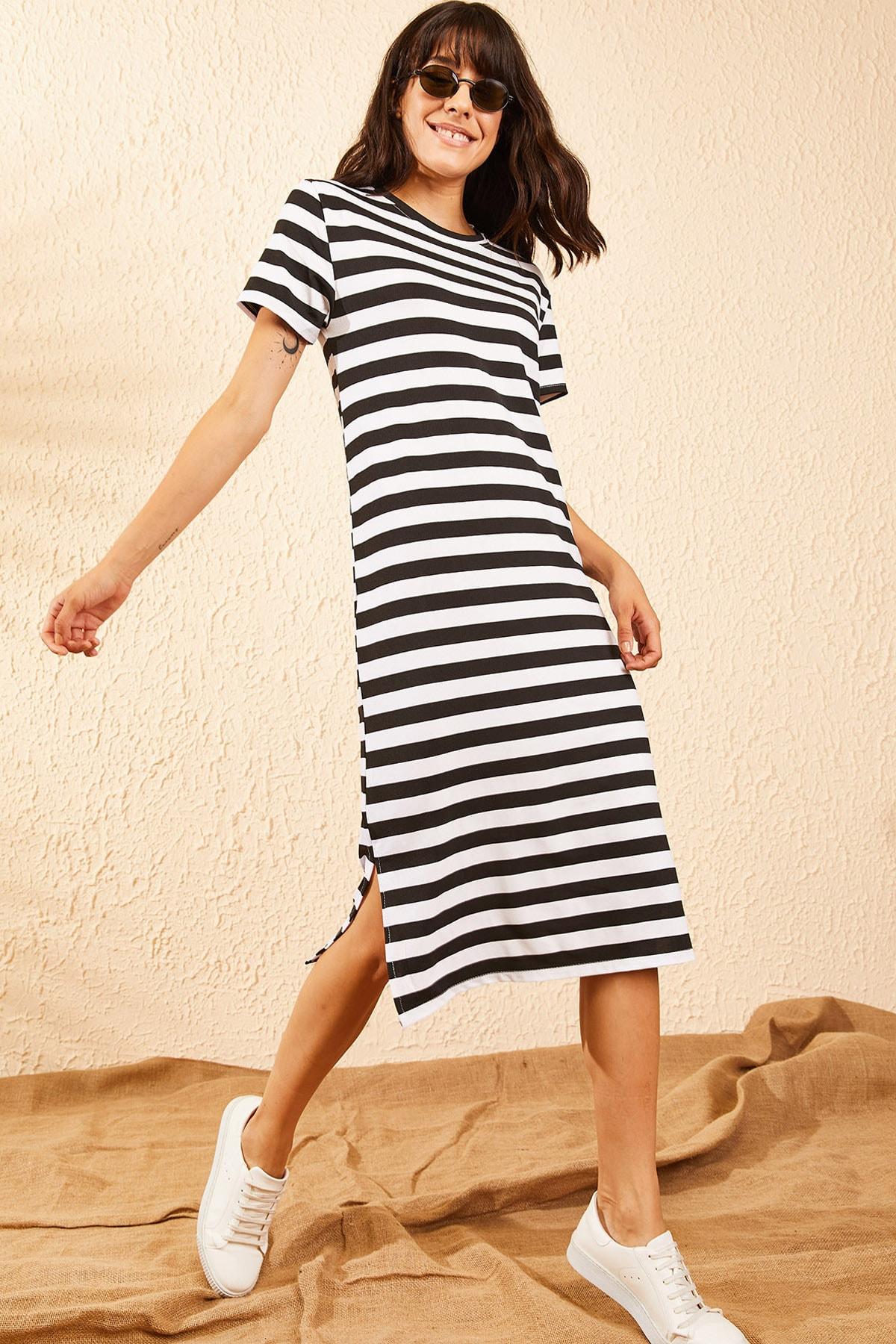Bianco Lucci Kadın Siyah Basic Uzun Çizgili Penye Elbise 10091064