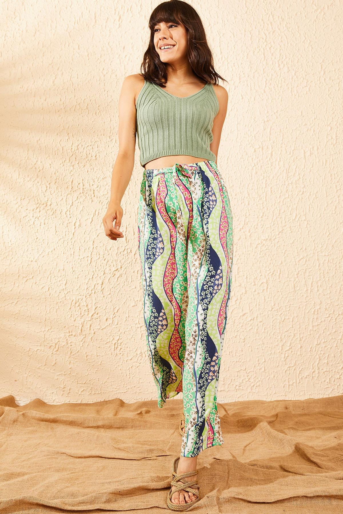 Bianco Lucci Kadın Yeşil Beli Lastikli Çiçek Şerit Desenli Bol Paça Pantolon 10101002 2