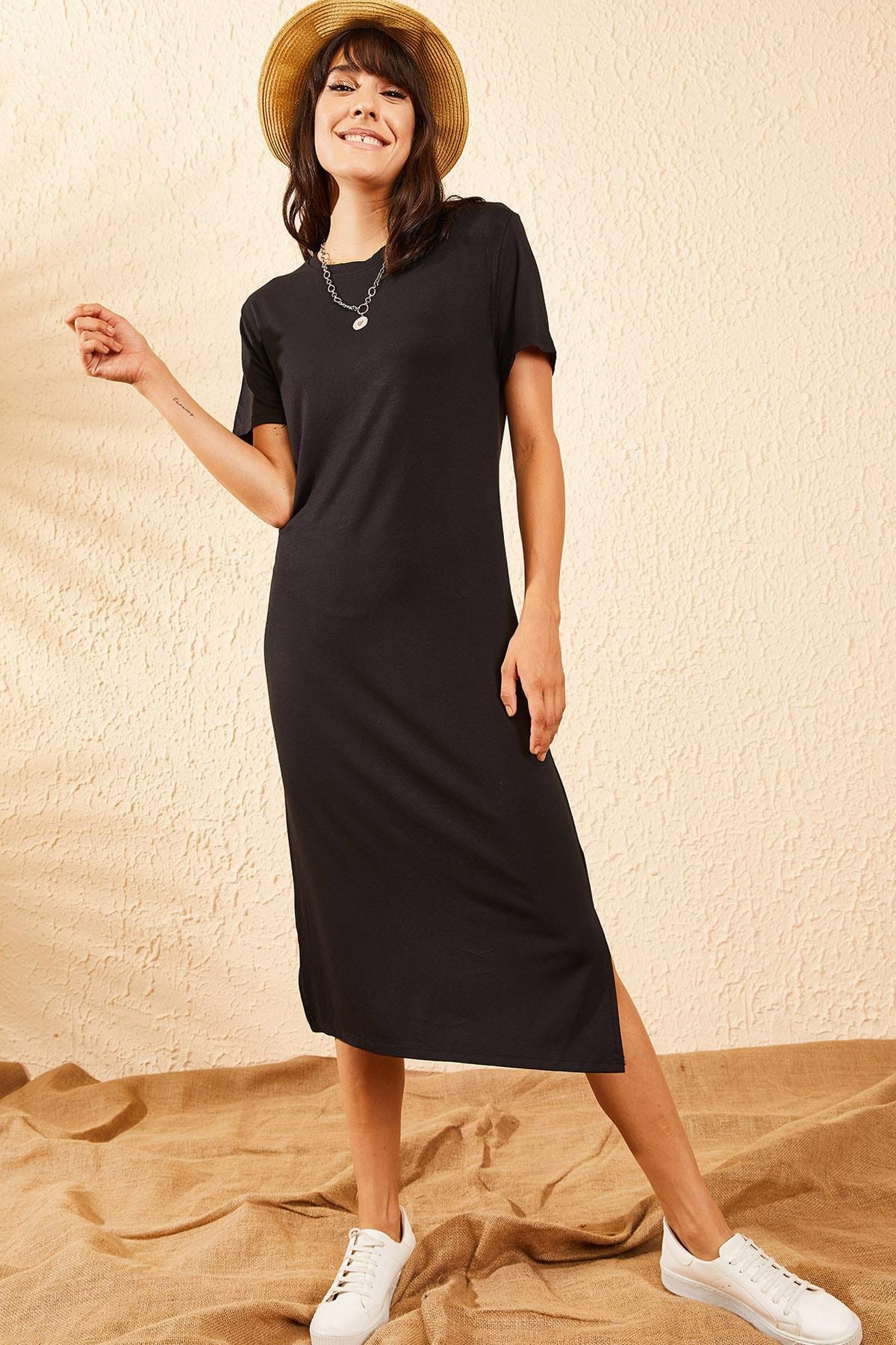 Bianco Lucci Kadın Siyah Basic Uzun Penye Elbise 10091065