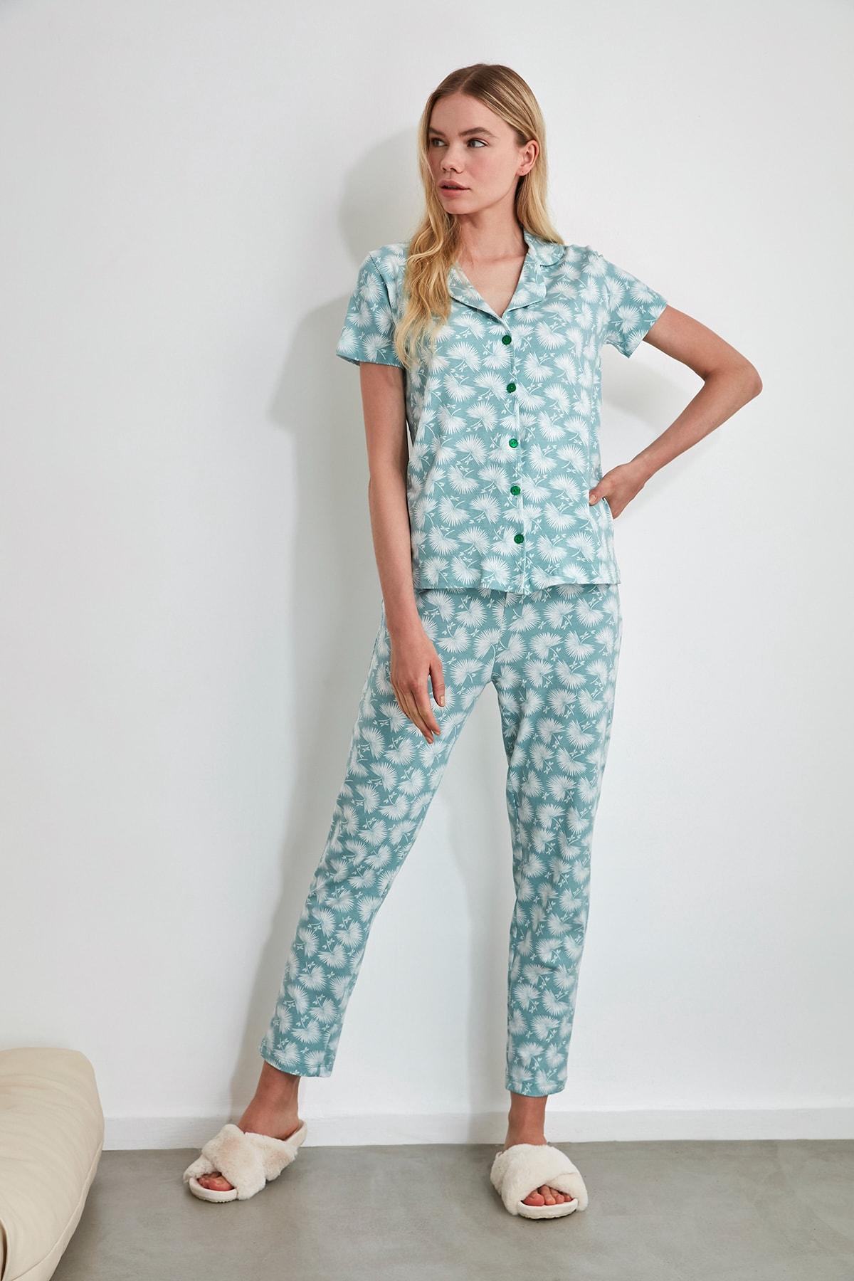 TRENDYOLMİLLA Mint Desenli Örme Pijama Takımı THMSS19IP0026 2