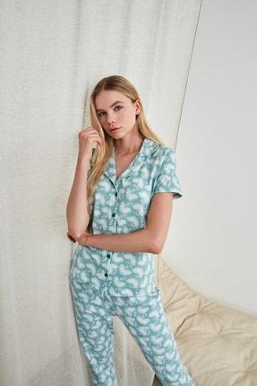 TRENDYOLMİLLA Mint Desenli Örme Pijama Takımı THMSS19IP0026