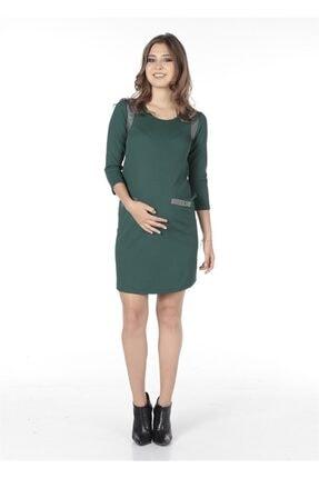 BUSA Kadın Turkuaz Hamile Çelik Kumaş Deri Garnili Dar Kesim Günlük Elbise