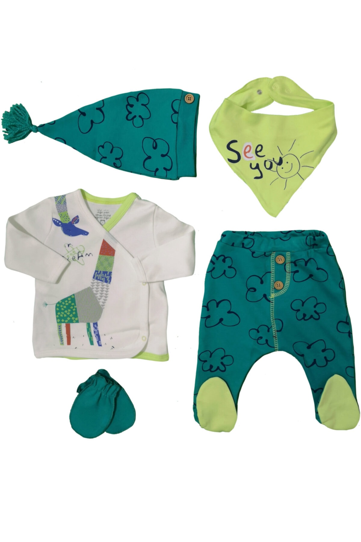 İmaj Erkek Bebek Yeşil See You Baskılı Hastane Çıkışı 5'li Set 1