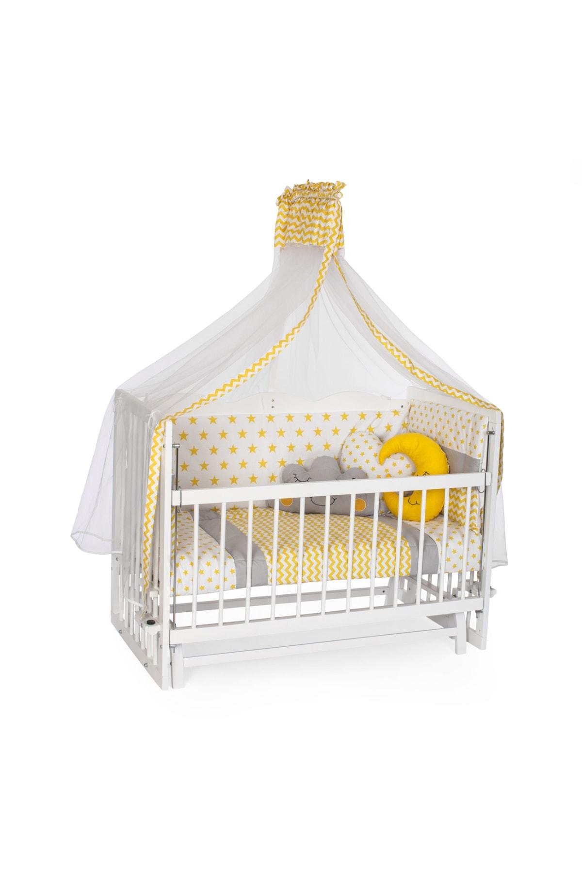 Carino Wins Ahşap 60 X 120 Beyaz Renk Sallanır Anne Yanı Beşik Uyku Setli Ve Yataklı Asybyz60x120sy 1