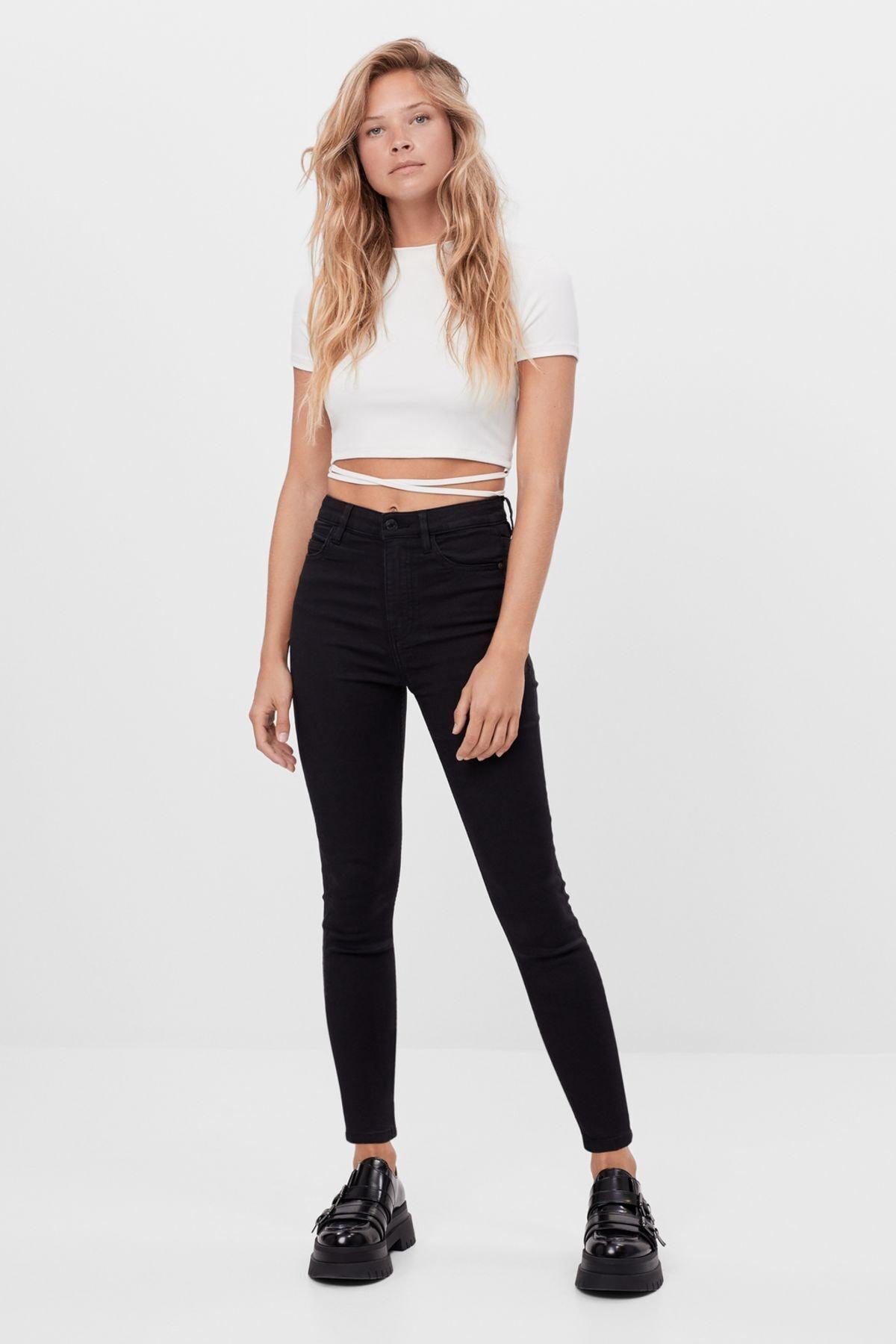 Bershka Kadın Siyah Süper Yüksek Bel Pantolon 1