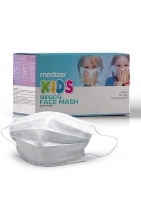 Sabomar Medizer Full Ultrasonik Cerrahi Çocuk Maskesi 3 Katlı Spunbond Kumaş 50 Adet - Burun Telli - Beyaz