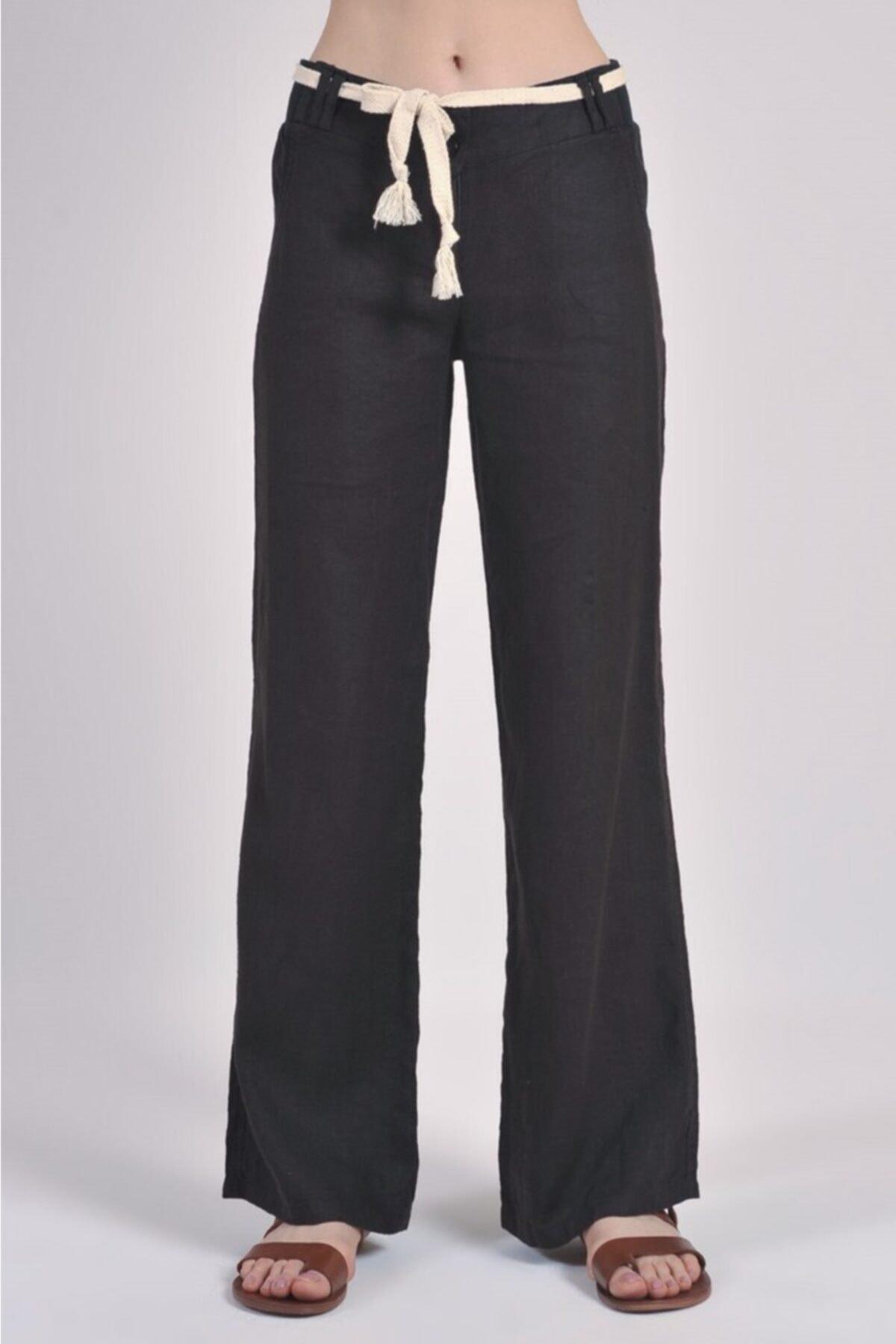 Yame Kadın Siyah Ribanalı İp Kemerli Keten Pantolon Gw 2