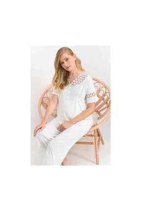 Arnetta Kadın Krem White Daisy  Lohusa Pijama Takımı