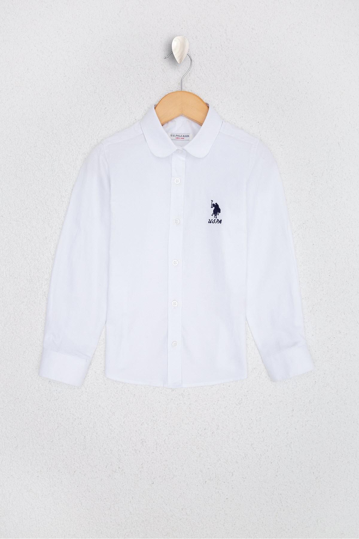 U.S. Polo Assn. Beyaz Kız Çocuk Dokuma Gömlek 1