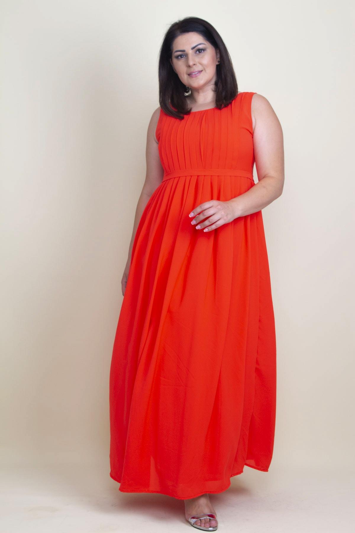Şans Kadın Nar Pilise Detaylı Astarlı Uzun Kolsuz Elbise 1