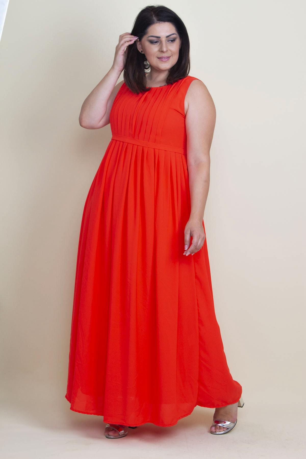 Şans Kadın Nar Pilise Detaylı Astarlı Uzun Kolsuz Elbise 2