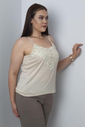 Şans Kadın Vizon Dantel Detaylı Askılı Bluz
