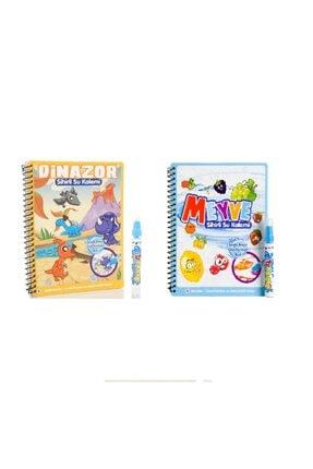 DEEMBRO Sihirli Boyama Kitabı Özel Kalemi Özel Set Dinozor Ve Meyveler 2 Li Set