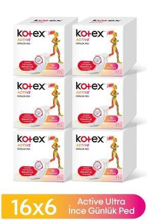 Kotex Active Günlük Ped 16'lı X 6 Adet