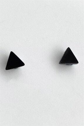 TAKIŞTIR Siyah Renk Üçgen Figürlü Mıknatıslı Küpe