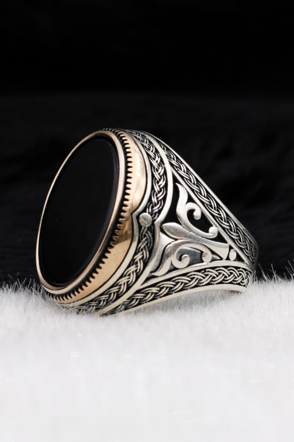 Silva Silver Düz Oniks Taşlı Desenli 925 Ayar Gümüş Erkek Yüzük 2