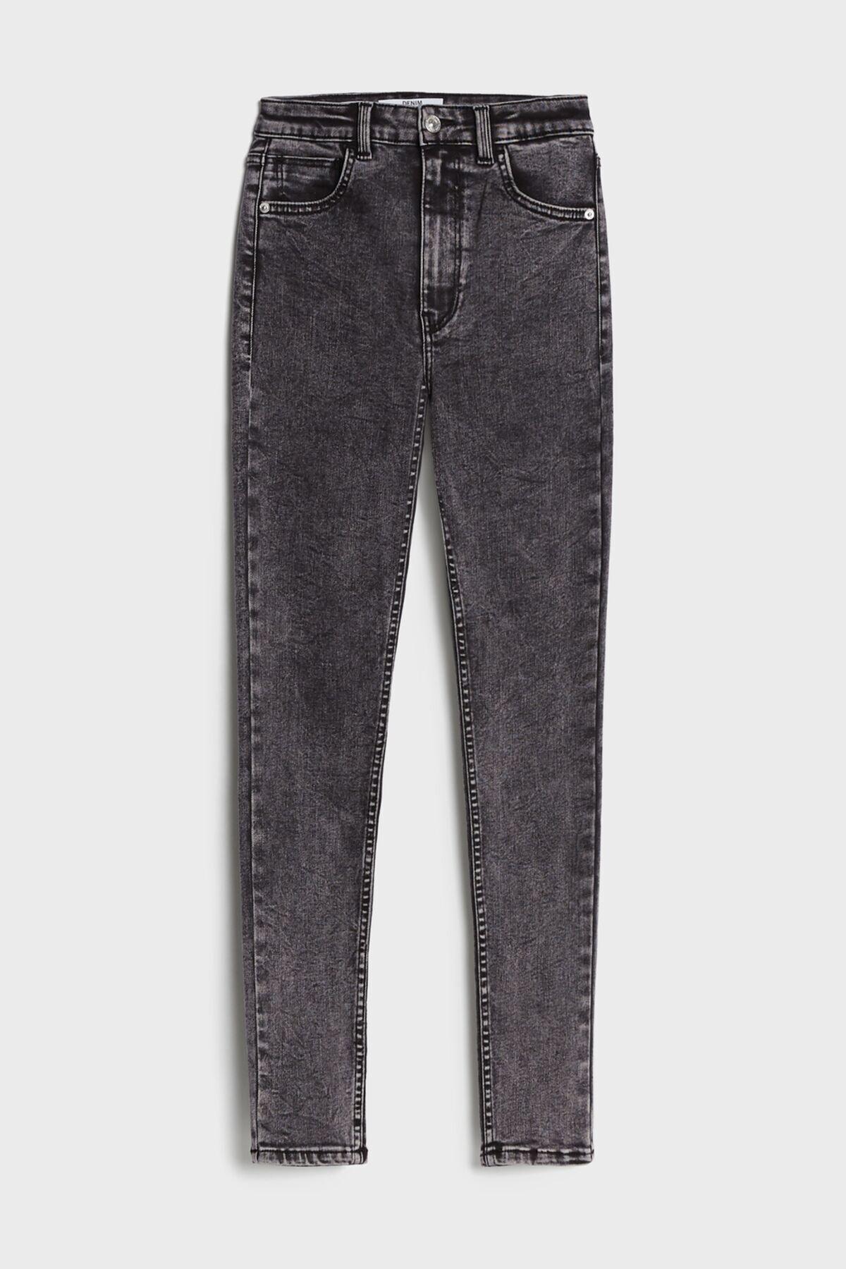 Bershka Kadın Gri Süper Yüksek Bel Jean 2