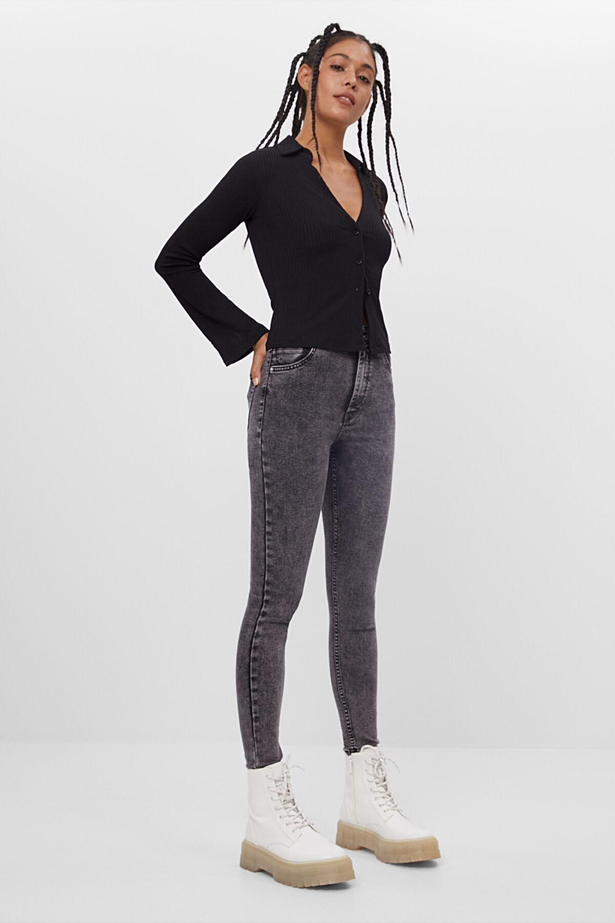 Bershka Kadın Gri Süper Yüksek Bel Jean 1