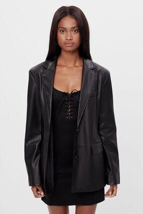 Bershka Kadın Siyah Suni Deri Blazer
