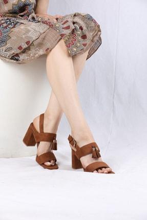 VİVA Kadın Camel Kalın Topuk Süet Bantlı Ayakkabı