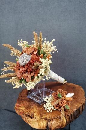 Kuru Çiçek Deposu Gelin Buketi Şoklanmış Kırmızı Ortancalı 2'li Set
