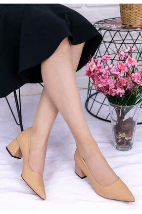 Erbilden Kadın Krem Darne Cilt Topuklu Ayakkabı