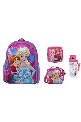 Frozen Disney Ilk Okul Çantası + Beslenme Çantası + Suluk + Beslenme Kabı ( 4'lü Okul Seti )